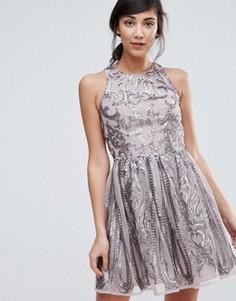 Короткое приталенное платье с пайетками Little Mistress - Серебряный