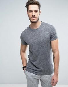 Серая меланжевая футболка слим с карманом и логотипом Jack Wills Ayleford - Серый
