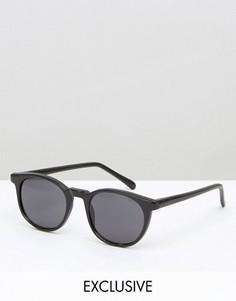 Круглые солнцезащитные очки в черной оправе Reclaimed Vintage - Золотой