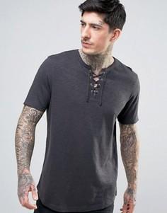 Длинная фактурная футболка с горловиной на шнуровке и закругленным низом ASOS - Черный