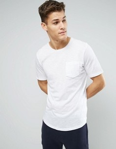 Удлиненная футболка с карманом и асимметричным краем Sisley - Белый