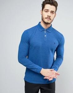 Серая меланжевая футболка-поло с длинными рукавами Jack Wills Staplecross - Синий