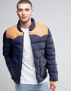 Стеганая куртка с кожаной кокеткой Penfield Pelam - Темно-синий