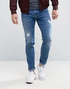Синие рваные джинсы скинни ASOS - Синий