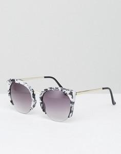 Солнцезащитные очки кошачий глаз в оправе из ацетата с мраморным эффектом ASOS - Мульти