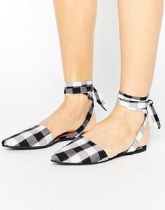 Туфли в клеточку с острым носком и завязками Park Lane - Мульти