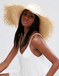 Соломенная шляпа с необработанными полями и бантом ASOS - Коричневый