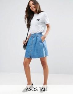Синяя расклешенная джинсовая мини-юбка на пуговицах ASOS TALL - Синий