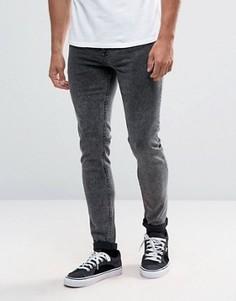 Серые джинсы скинни с эффектом кислотной стирки ASOS - Серый