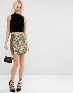 Жаккардовая мини‑юбка цвета металлик ASOS - Мульти
