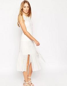 Платье с кружевной вставкой Needle & Thread Victoriana - Белый