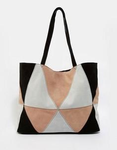 Замшевая сумка-шоппер в стиле пэчворк ASOS - Мульти