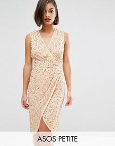 Сетчатое платье миди с перекрученным лифом ASOS PETITE - Золотой