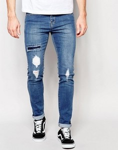 Зауженные синие выбеленные джинсы Dr Denim Snap - Синий