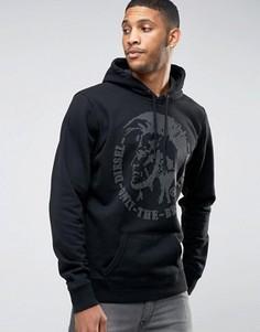 Черное худи с накладками Diesel Mowhawk - Черный
