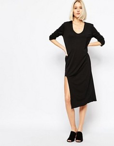 Платье с разрезом спереди Weekday - Черный