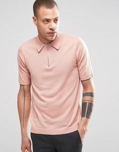 Розовый джемпер на молнии с воротником поло и короткими рукавами Weekday Dig - Розовый
