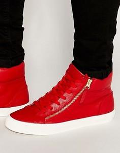 Высокие кроссовки с молнией Walk London - Красный