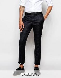 Зауженные брюки в клеточку эксклюзивно от Rogues Of London - Черный