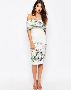 Платье-футляр миди с открытыми плечами и цветочным принтом ASOS - Мульти