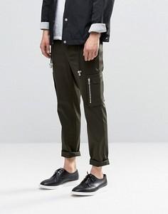 Суперзауженные брюки цвета хаки с карманами по бокам ASOS - Зеленый