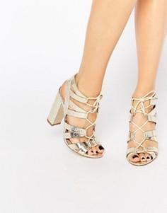 Золотистые сандалии на шнуровке Lipsy Cleo - Золотой