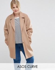 Пальто-кокон в мальчишеском стиле ASOS CURVE - Коричневый