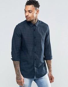 Темно-синяя клетчатая рубашка с длинными рукавами ASOS - Темно-синий