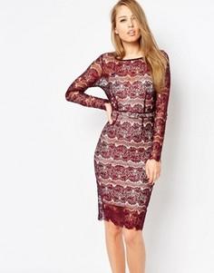 Моделирующее облегающее платье из кружева Body Frock Lisa - Красный