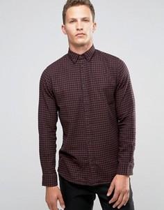 Фланелевая рубашка слим в клеточку Selected Homme - Красный