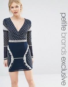 Платье мини с глубоким вырезом, длинными рукавами и отделкой бисером Maya Petite - Темно-синий