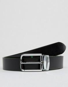 Узкий кожаный двусторонний ремень Smith And Canova - Черный