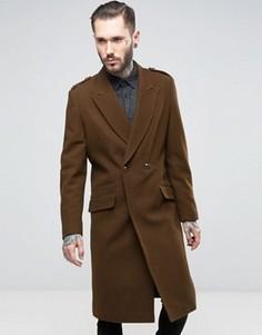 Коричневое пальто в стиле милитари с добавлением шерсти ASOS - Коричневый