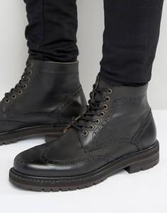 Кожаные ботинки‑броги Selected Homme Stephan - Черный