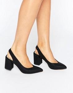 Туфли на среднем каблуке с ремешком через пятку London Rebel - Черный