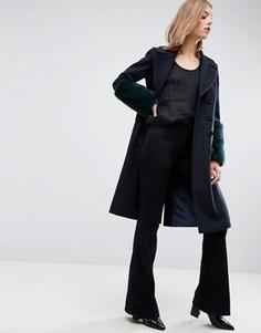 Пальто с манжетами из искусственного меха ASOS - Мульти