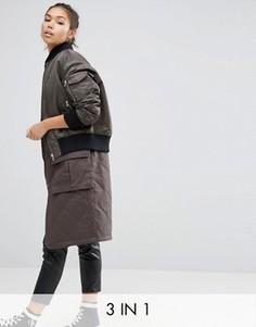 Пальто 3 в 1 в стиле куртки‑пилот ASOS - Зеленый