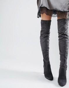 Замшевые сапоги на каблуке с разрезом Dune Sibyl - Серый