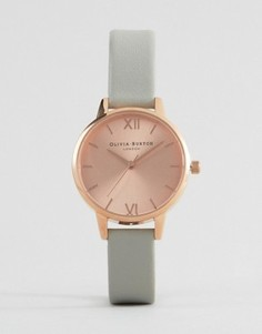 Часы с золотистым корпусом и серым ремешком Olivia Burton OB15MD46 - Золотой