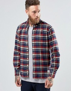 Хлопковая клетчатая рубашка на пуговицах с начесом Penfield Barrhead - Красный