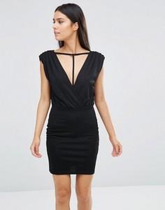 Платье мини с отделкой ремешками Rare - Черный