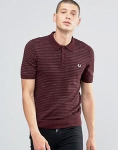 Меланжевая вязаная футболка‑поло в полоску Fred Perry - Красный