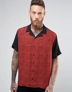 Свободная рубашка из вискозы с леопардовой вставкой ASOS - Красный