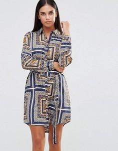 Платье-рубашка с длинными рукавами и принтом AX Paris - Мульти