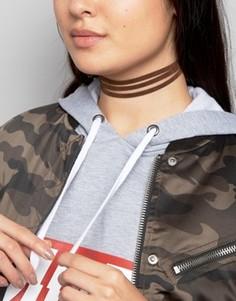 Короткое замшевое ожерелье ASOS - Коричневый