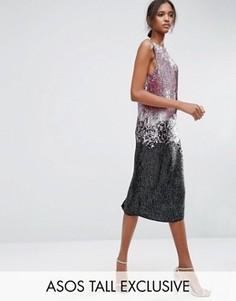 Декорированное платье-майка миди с эффектом омбре ASOS TALL - Мульти
