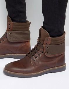 Коричневые кожаные ботинки на шнуровке с манжетами ASOS - Коричневый