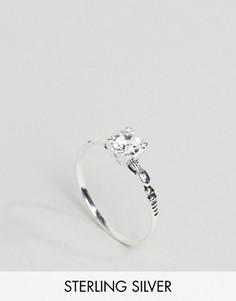 Серебряное кольцо с гравировкой и отделкой стразом ASOS - Серебряный