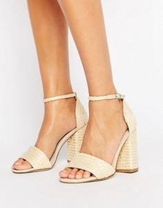 Босоножки натурального цвета на блочном каблуке Glamorous - Бежевый
