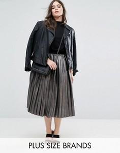 Плиссированная юбка металлик Elvi - Серебряный